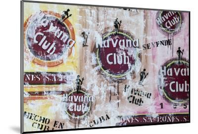 Cuba, Trinidad, Havana Club Painted on Wall of Bar in Historical Center-Jane Sweeney-Mounted Photographic Print