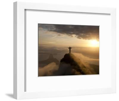 Statue of Jesus, known as Cristo Redentor (Christ the Redeemer), on Corcovado Mountain in Rio De Ja-Peter Adams-Framed Premium Photographic Print