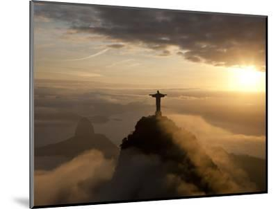 Statue of Jesus, known as Cristo Redentor (Christ the Redeemer), on Corcovado Mountain in Rio De Ja-Peter Adams-Mounted Premium Photographic Print