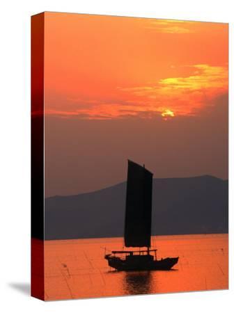 Fishing Boat Sailing Across Lake Taihu at Sunset, Wuxi, China-Keren Su-Stretched Canvas Print