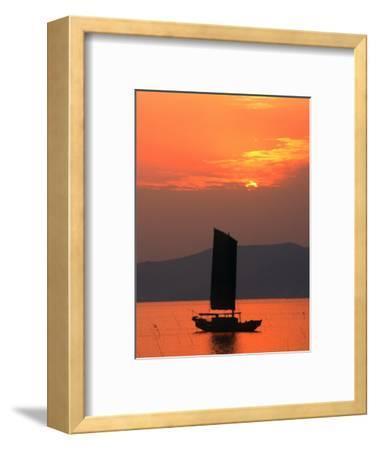Fishing Boat Sailing Across Lake Taihu at Sunset, Wuxi, China-Keren Su-Framed Photographic Print