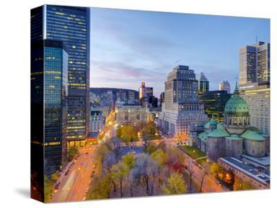 Canada, Quebec, Montreal, Place Du Canada and Dorchester Square, Cathedral-Basilica of Mary,-Alan Copson-Stretched Canvas Print