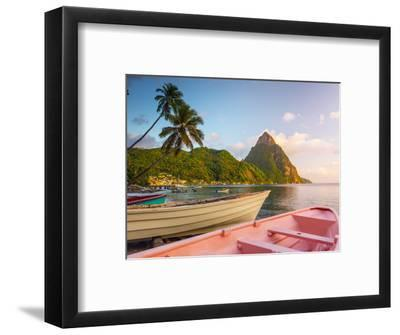 Caribbean, St Lucia, Soufriere Bay, Soufriere Beach and Petit Piton, Traditional Fishing Boats-Alan Copson-Framed Photographic Print