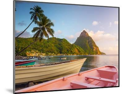 Caribbean, St Lucia, Soufriere Bay, Soufriere Beach and Petit Piton, Traditional Fishing Boats-Alan Copson-Mounted Photographic Print