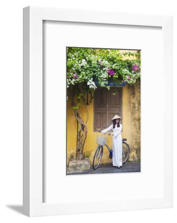 Woman Wearing Ao Dai Dress with Bicycle, Hoi An, Quang Ham, Vietnam-Ian Trower-Framed Photographic Print