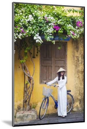 Woman Wearing Ao Dai Dress with Bicycle, Hoi An, Quang Ham, Vietnam-Ian Trower-Mounted Photographic Print
