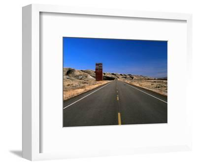 Highway and Abandoned Grain Elevator in Ghost Town of Dorothy, Alberta, Canada-Barnett Ross-Framed Photographic Print