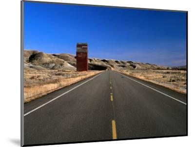 Highway and Abandoned Grain Elevator in Ghost Town of Dorothy, Alberta, Canada-Barnett Ross-Mounted Photographic Print