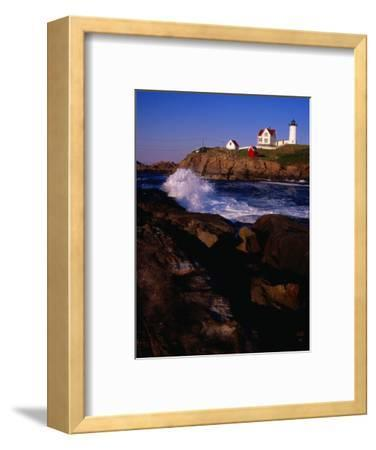 Surf Crashing on York Beach with Nubble Lighthouse in Background, Cape Neddick, USA-Levesque Kevin-Framed Photographic Print