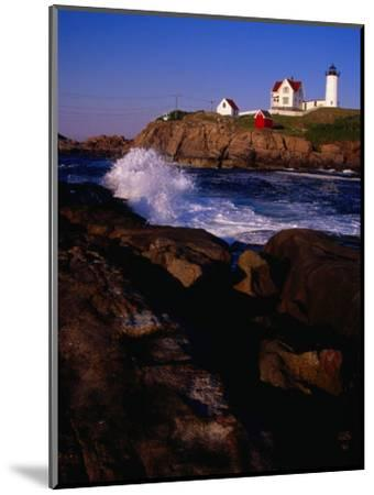 Surf Crashing on York Beach with Nubble Lighthouse in Background, Cape Neddick, USA-Levesque Kevin-Mounted Photographic Print