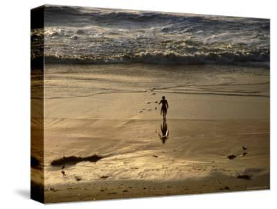 Overhead of Surfer on Redondo Beach-Christina Lease-Stretched Canvas Print