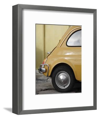 Yellow Fiat 500 Parked Against Wall, Gallipoli-David Borland-Framed Photographic Print