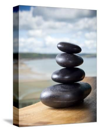 Hot Stones Spa Treatment at St. Brides Hotel and Spa with Saundersfoot Beach in Background-Huw Jones-Stretched Canvas Print