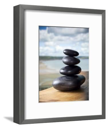 Hot Stones Spa Treatment at St. Brides Hotel and Spa with Saundersfoot Beach in Background-Huw Jones-Framed Premium Photographic Print