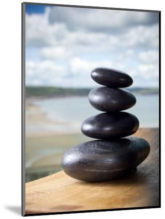 Hot Stones Spa Treatment at St. Brides Hotel and Spa with Saundersfoot Beach in Background-Huw Jones-Mounted Premium Photographic Print