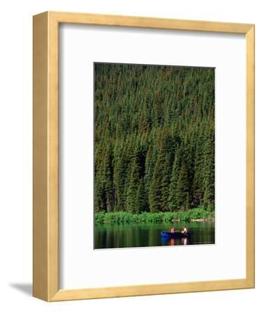 Boating on Cameron Lake, Waterton Lakes National Park, Alberta, Canada-Lawrence Worcester-Framed Photographic Print
