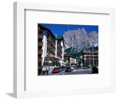 Apartment Buildings with Cliffs of Cristallo Group Behind, Cortina, Veneto, Italy-Grant Dixon-Framed Photographic Print