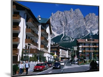 Apartment Buildings with Cliffs of Cristallo Group Behind, Cortina, Veneto, Italy-Grant Dixon-Mounted Photographic Print