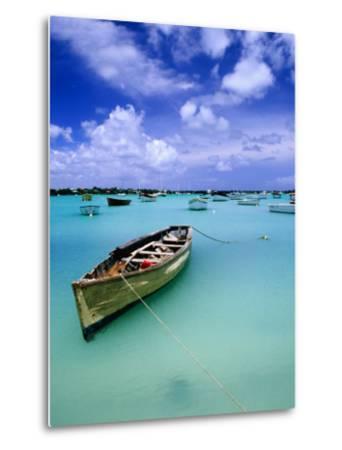 Fishing Boats Anchored in Lagoon-Olivier Cirendini-Metal Print