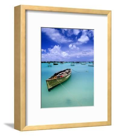 Fishing Boats Anchored in Lagoon-Olivier Cirendini-Framed Photographic Print