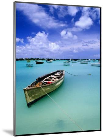 Fishing Boats Anchored in Lagoon-Olivier Cirendini-Mounted Photographic Print