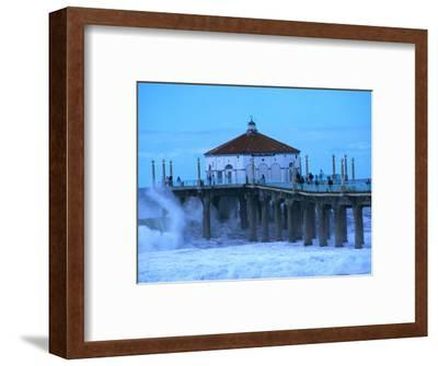 Waves Breaking into the Pier at Manhattan Beach-Christina Lease-Framed Photographic Print
