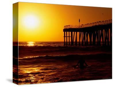 Sunset at Beach, Hermosa Beach, with Jetty in Background-Christina Lease-Stretched Canvas Print