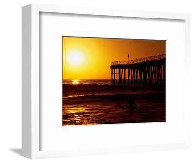 Sunset at Beach, Hermosa Beach, with Jetty in Background-Christina Lease-Framed Photographic Print