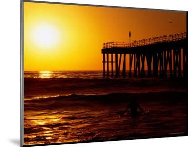 Sunset at Beach, Hermosa Beach, with Jetty in Background-Christina Lease-Mounted Photographic Print