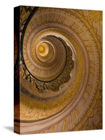 Spiral Staircase at Baroque Monastery Church of Sts Peter and Paul-Richard Nebesky-Stretched Canvas Print