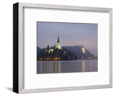 Baroque Church of Assumption on Bled Island with Renaissance Bled Castle-Richard Nebesky-Framed Photographic Print