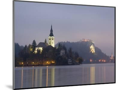 Baroque Church of Assumption on Bled Island with Renaissance Bled Castle-Richard Nebesky-Mounted Photographic Print