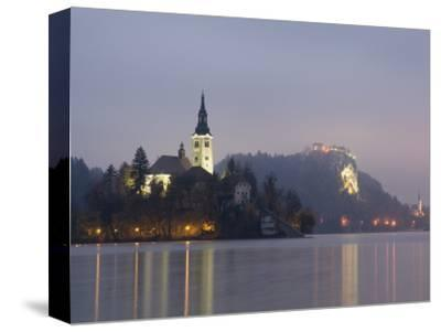 Baroque Church of Assumption on Bled Island with Renaissance Bled Castle-Richard Nebesky-Stretched Canvas Print