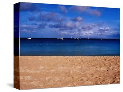 Reduit Beach and Yachts on Rodney Bay-Richard l'Anson-Stretched Canvas Print