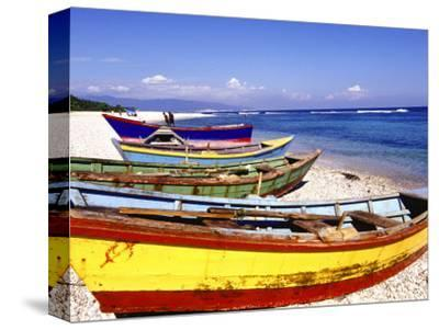 Fishing Boats on Beach-Greg Johnston-Stretched Canvas Print