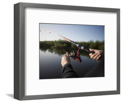 Fishing from Houseboat on Shannon-Erne Waterway-Holger Leue-Framed Photographic Print