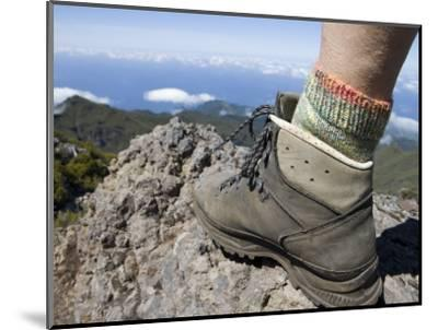 Hiker's Boot on Summit of Pico Ruivo Mountain-Holger Leue-Mounted Photographic Print