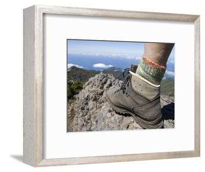 Hiker's Boot on Summit of Pico Ruivo Mountain-Holger Leue-Framed Photographic Print