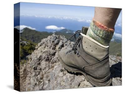 Hiker's Boot on Summit of Pico Ruivo Mountain-Holger Leue-Stretched Canvas Print