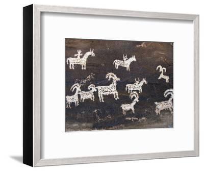 Ute Indian Petroglyphs-John Elk III-Framed Photographic Print