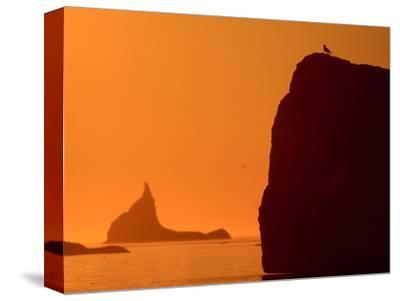 Icebergs Silhouetted at Sunset, Disko Bay, Greenland, August 2009-Jensen-Stretched Canvas Print