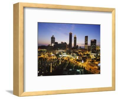 Buildings Lit Up at Sunset, Centennial Olympic Park, Atlanta, Georgia, USA--Framed Photographic Print