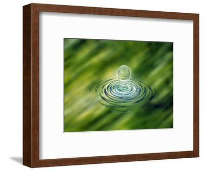 Clear Bubble Rising from Ripples in Mottled Green Water--Framed Photographic Print