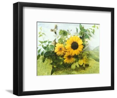 Sun Flowers And Green Vine Bouquet with Green Mountain Tops--Framed Photographic Print
