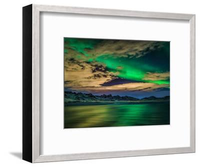 Cloudy Evening with Aurora Borealis or Northern Lights, Kleifarvatn, Iceland--Framed Photographic Print