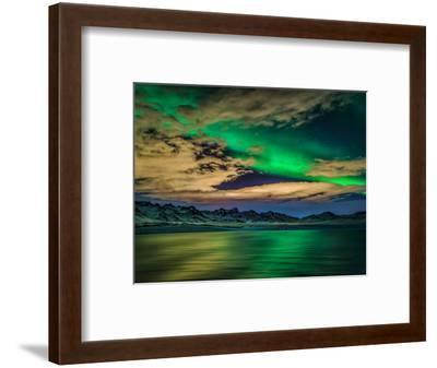 Cloudy Evening with Aurora Borealis or Northern Lights, Kleifarvatn, Iceland--Framed Premium Photographic Print