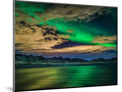 Cloudy Evening with Aurora Borealis or Northern Lights, Kleifarvatn, Iceland--Mounted Premium Photographic Print