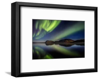 Aurora Borealis or Northern Lights at Lake Thingvallavatn, Thingvellir National Park--Framed Photographic Print