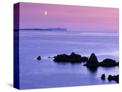 Sunset over Sand Wick and Rising Moon over Foula in Distance, Eshaness, Shetland, Scotland, UK-Patrick Dieudonne-Stretched Canvas Print