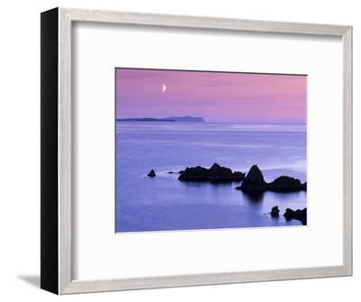 Sunset over Sand Wick and Rising Moon over Foula in Distance, Eshaness, Shetland, Scotland, UK-Patrick Dieudonne-Framed Photographic Print